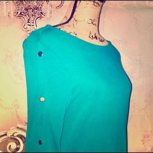 NWOT- Green Boat Neck Sweater Top